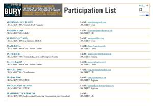 Participants list Shortcut Europe 2016